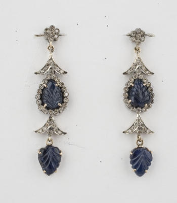 Art Deco carved blue sapphire and diamond gold ear pendants