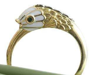 Estate Enamel Fish Ring