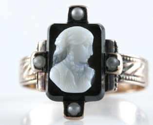 Antique Black Onyx Cameo Ring