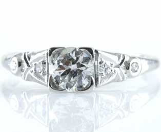 Ladies Estate Platinum Engagement Ring