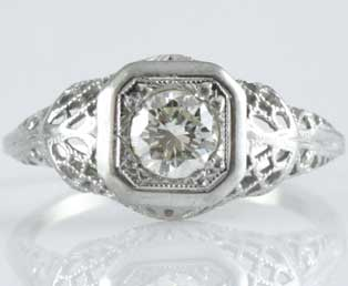 Estate Solitaire Filigree Engagement Ring