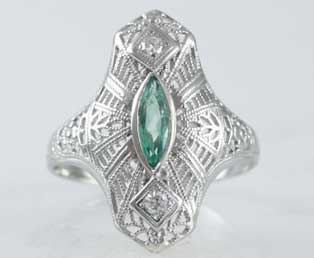 Art Deco Emerald Dinner Ring