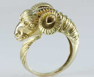 Rams Head Gold Ring