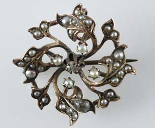 Antique Seed Pearl Pendant Brooch