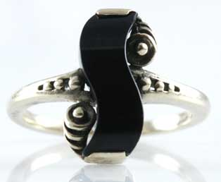 Estate Black Onyx Gold Ring