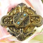Antique Turquoise Hair Brooch