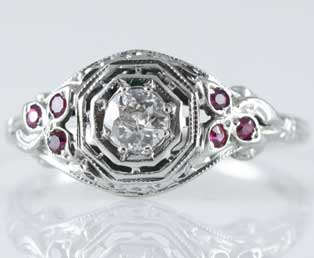 Estate Ruby Diamond Engagement Ring
