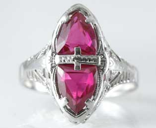 Antique Ruby Filigree Ring