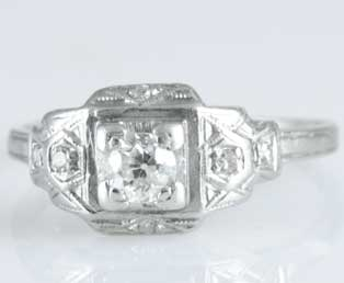 Antique Platinum Diamond Wedding Ring