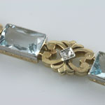 Aquamarine Diamond Gold Bracelet