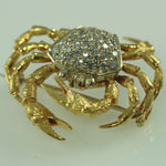 1920s Diamond Crab Brooch