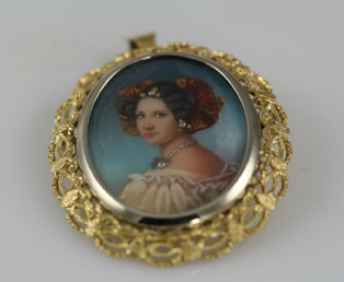 Miniature Painting Pendant Brooch