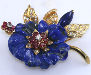 Carved Lapis Floral Brooch