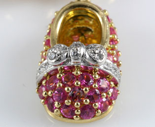 Pink Sapphire Baby Shoe Pendant