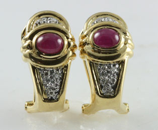 Ruby Cabochon Diamond Earrings