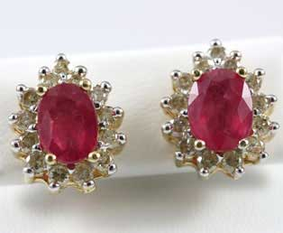 Oval Ruby Diamond Stud Earrings
