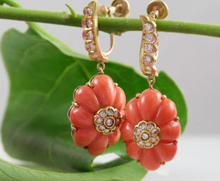 Orange Coral Diamond Earrings