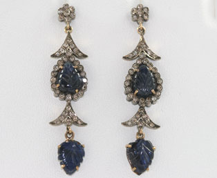 Deco Sapphire Cabochon Earrings