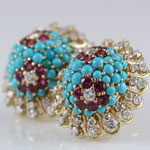 Turquoise Ruby Diamond Earclips