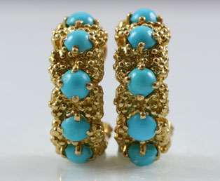 Persian Turquoise Gold Earclips