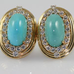 Persian Turquoise Diamond Earclips
