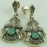 Emerald Marcasite Pierced Sterling Silver Chandelier Earrings