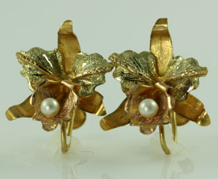 Seed Pearl And 18kt Gold Earrings