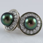 Tahitian Pearl Diamond Earrings