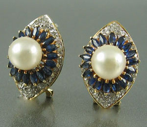 Pearl Sapphire Diamond Pave Earrings