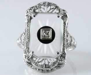 Antique Crystal Glass Filigree Ring