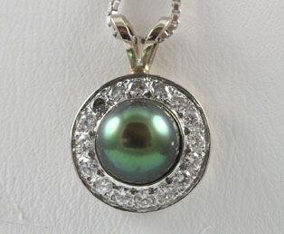 Black Pearl Diamond Pendant