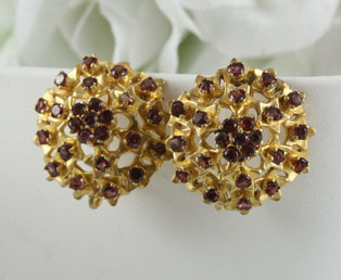 Antique Garnet Gold Earrings
