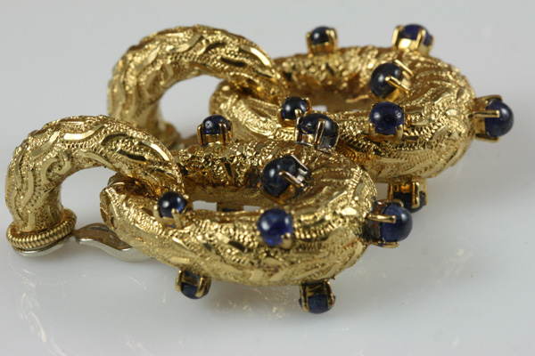 Sapphire Gold Ear Clips