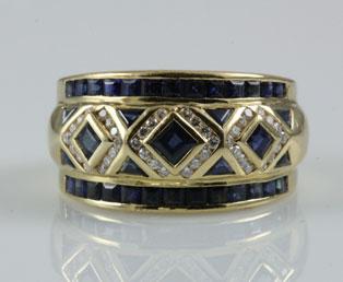 Levian Blue Sapphire Diamond Ring