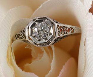 old diamond filigree wedding ring - Old Wedding Rings