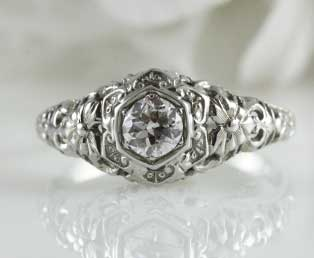 Floral Filigree Diamond Engagement Ring