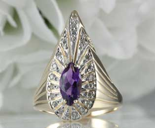 Erte Peacock Amethyst Ring