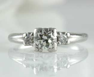 Estate Diamond Platinum Engagement Ring