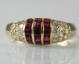 Estate Ruby Diamond Band