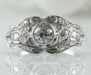 antique wedding ring platinum - Antique Wedding Ring