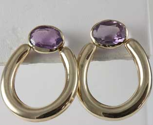 Amethyst Gold Loop Earrings
