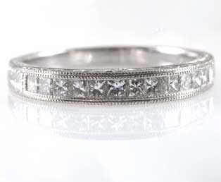 Vintage Princess Diamond Wedding Band