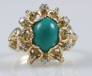 Turquoise Diamond Gold Ring