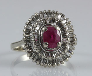 Vintage Ruby Diamond White Gold Ring