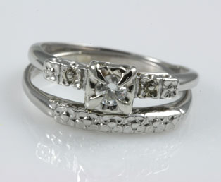 Estate Platinum Matching Wedding Set