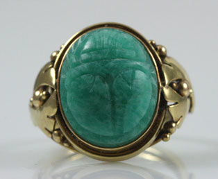 Vintage Blue Scarab Gold Ring