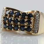 Blue Topaz Diamond Gold Ring