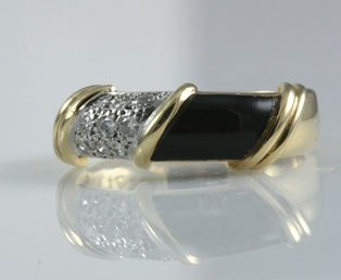 Black Onyx Diamond Band Ring