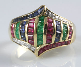 Big Colorful Multi Stone Ring