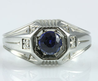 Vintage Mens Sapphire Ring